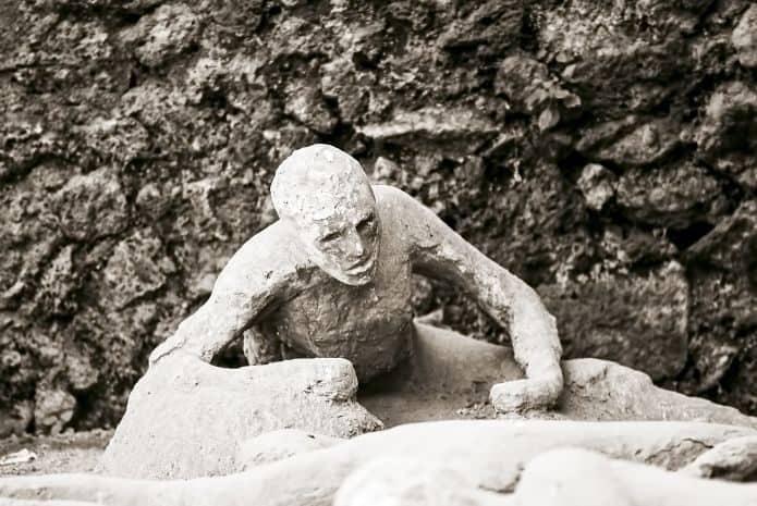 Scavi di Pompei: un calco dell'Orto dei Fuggiaschi